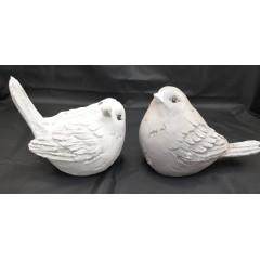 HOME DECO Vtáčik keramický biely, ružový 24x18 cm