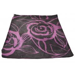 Obliečka na vankúš 38x38 cm, kvalitný zips, pevný materiál čierna s fialovými kvetmi