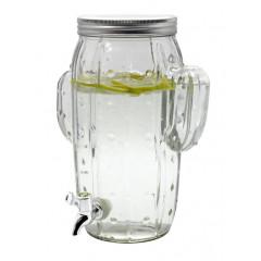 GLASS FEELING Nádoba sklenená  s ventilom a kovovým vrchnákom kaktus 8 l