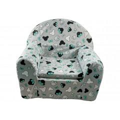 HOUSEHOLD Kresielko detské, sivý podklad, hlava Minnie so zelenou mašľou