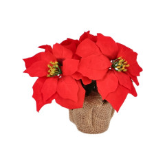 CHRISTMAS DECOR Kvet Poisenttia v kvetináči umelá 24 cm