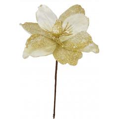 CHRISTMAS DECOR Vianočný kvet smotanovo-zlatý35 cm