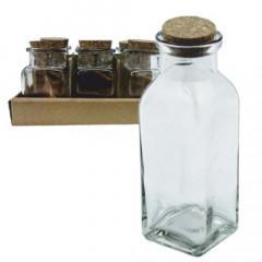 GLASS FEELING Sklenená fľaša s korkovým uzáverom 400mll
